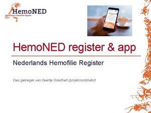 Hemo NED register app Nederlands Hemofilie Register Dias