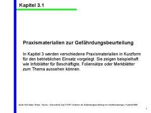 Kapitel 3 1 Praxismaterialien zur Gefhrdungsbeurteilung In Kapitel