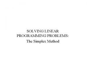 SOLVING LINEAR PROGRAMMING PROBLEMS The Simplex Method Simplex