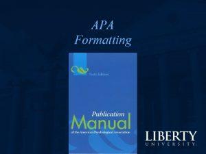 APA Formatting Formatting 1 margins Times New Roman