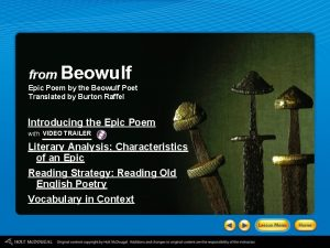 from Beowulf Epic Poem by the Beowulf Poet