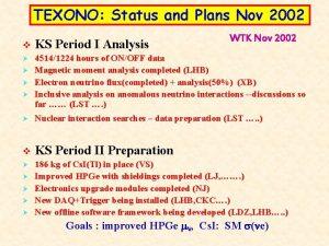 TEXONO Status and Plans Nov 2002 WTK Nov