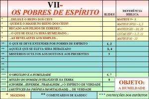 VII OS POBRES DE ESPRITO SLIDES REFERNCIA BBLICA
