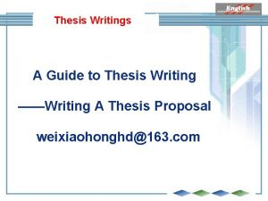 Thesis Writings A Guide to Thesis Writing Writing