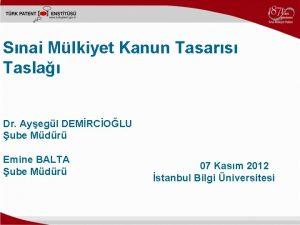Snai Mlkiyet Kanun Tasars Tasla Dr Ayegl DEMRCOLU
