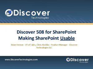 Discover 508 for Share Point Making Share Point
