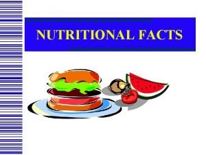 NUTRITIONAL FACTS Nutrition Label Serving and Serving Size