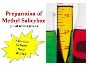 Preparation of Methyl Salicylate oil of wintergreen Assistant