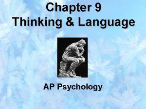 Chapter 9 Thinking Language AP Psychology THINKING AND