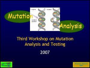 original mutated Mutation mutation operator Analysis Third Workshop
