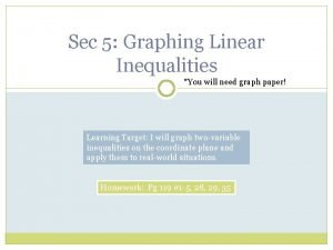 Sec 5 Graphing Linear Inequalities You will need