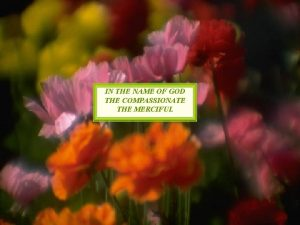 IN THE NAME OF GOD THE COMPASSIONATE THE