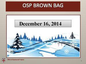 OSPBROWN Brown Bag OSP BAG December 16 2014