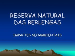 RESERVA NATURAL DAS BERLENGAS IMPACTES GEOAMBIENTAIS Reserva Natural