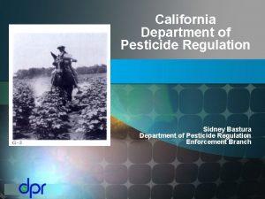 California Department of Pesticide Regulation Sidney Bastura Department