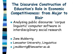 The Discursive Construction of Educations Role in Economic