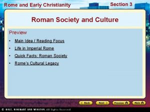Rome and Early Christianity Section 3 Roman Society