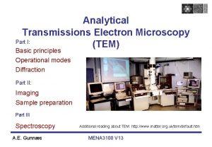 Analytical Transmissions Electron Microscopy Part I TEM Basic