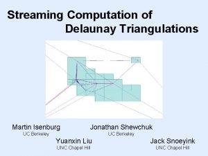 Streaming Computation of Delaunay Triangulations Martin Isenburg Jonathan