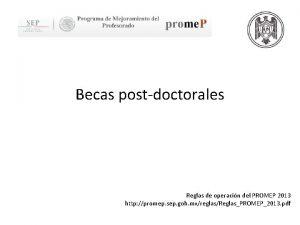 Becas postdoctorales Reglas de operacin del PROMEP 2013