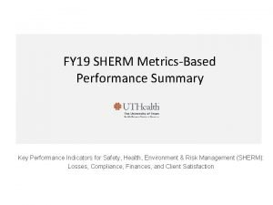 FY 19 SHERM MetricsBased Performance Summary Key Performance