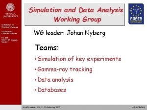 Simulation and Data Analysis Working Group Institutionen fr