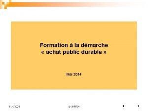 Formation la dmarche achat public durable Mai 2014