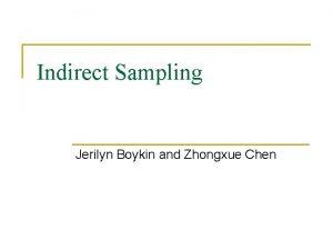 Indirect Sampling Jerilyn Boykin and Zhongxue Chen Indirect