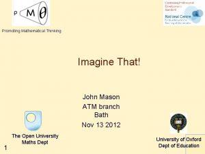 Promoting Mathematical Thinking Imagine That John Mason ATM