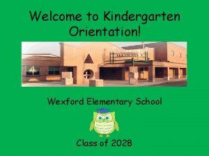 Welcome to Kindergarten Orientation Wexford Elementary School Class