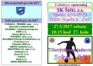 Hlavn partnei pro rok 2017 Fotbalov zpravodaj SK