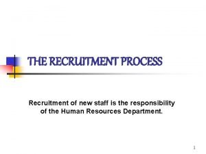 THE RECRUITMENT PROCESS Recruitment of new staff is