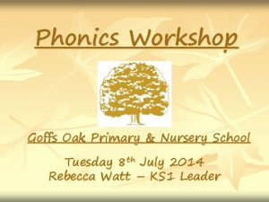 Phonics Workshop Goffs Oak Primary Nursery School Tuesday