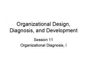 Organizational Design Diagnosis and Development Session 11 Organizational