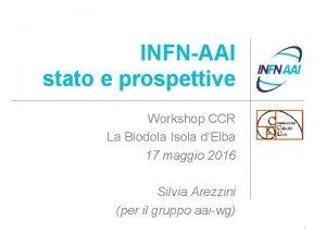 INFNAAI stato e prospettive Workshop CCR La Biodola