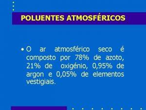 POLUENTES ATMOSFRICOS O ar atmosfrico seco composto por