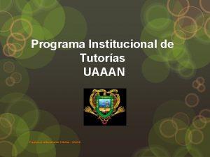 Programa Institucional de Tutoras UAAAN Programa Institucional de