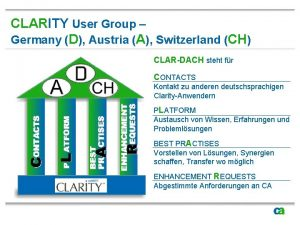 CLARITY User Group Germany D Austria A Switzerland