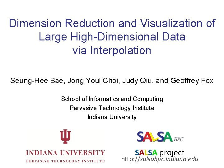 Dimension Reduction and Visualization of Large HighDimensional Data