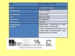 slo VY32 INOVACE TEC494 Ronk 2 Cukrsk technologie