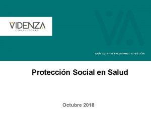 Proteccin Social en Salud Octubre 2018 La Proteccin