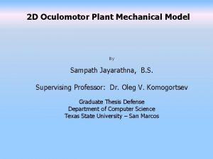 2 D Oculomotor Plant Mechanical Model By Sampath