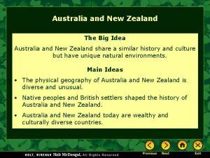 Australia and New Zealand The Big Idea Australia