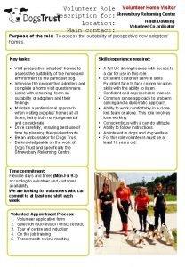 Volunteer Role Volunteer Home Visitor Description for Shrewsbury