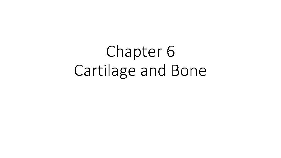 Chapter 6 Cartilage and Bone Functions of cartilage