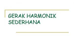 GERAK HARMONIK SEDERHANA 12 1 Gaya Pemulih pada
