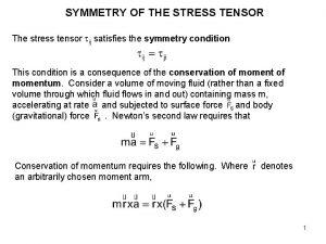 SYMMETRY OF THE STRESS TENSOR The stress tensor
