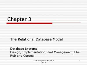 Chapter 3 The Relational Database Model Database Systems