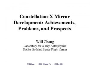 ConstellationX Mirror Development Achievements Problems and Prospects Will