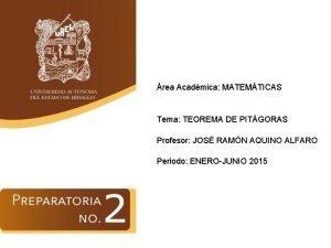 rea Acadmica MATEMTICAS Tema TEOREMA DE PITGORAS Profesor